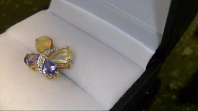 Lady's 10k yellow gold tanzanite and opal butterfly pendant