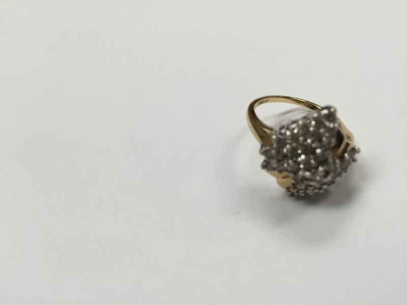 Lady's Diamond Cluster Ring 36 Diamonds .36 Carat T.W. 14K Yellow Gold 4g