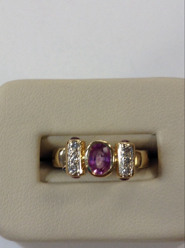 Pink Stone Lady's Stone & Diamond Ring 6 Diamonds .12 Carat T.W.
