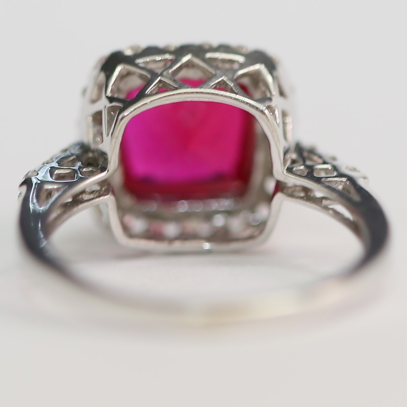 10K White Gold Cushion Syn Ruby and Round Cubic Zirconia Ring Size 8.5