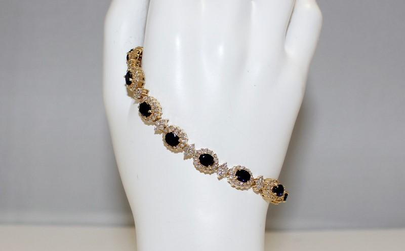 "14K 7"" Yellow Gold Diamond Halo Set & Oval Cut Sapphire Tennis Bracelet"