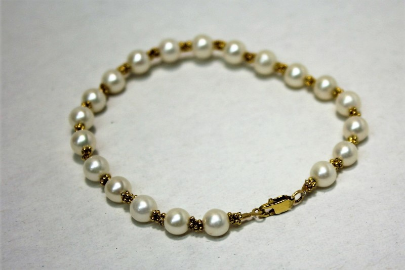 Pearl Gold-Stone Bracelet 14K Yellow Gold 6.4g