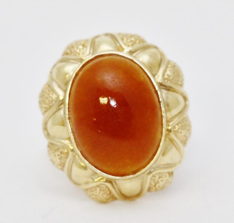 14K Yellow Gold Oval Cabachon Orange Carnelian Full Bezel Textured Cocktail Ring