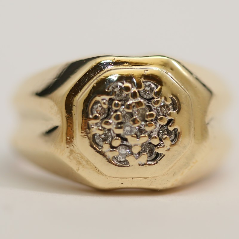 Men's 10K Yellow Gold Round Brilliant Cut Diamond Cluster Ring Size 8.5