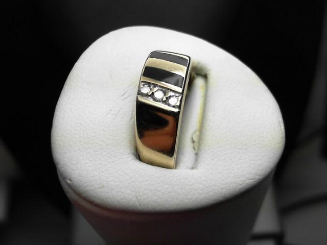 Synthetic Onyx Gent's Stone & Diamond Ring 3 Diamonds .09 Carat T.W.