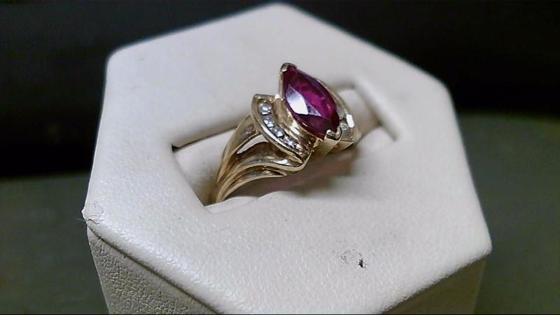 Red Stone Lady's Stone & Diamond Ring 8 Diamonds .16 Carat T.W. 10K Yellow Gold