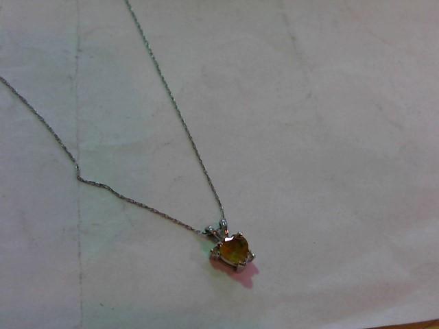 Yellow Stone Diamond & Stone Necklace 2 Diamonds .010 Carat T.W. 10K White Gold
