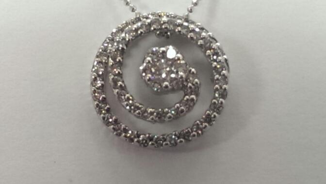 "18"" Diamond Necklace 57 Diamonds 1.71 Carat T.W. 14K White Gold 5.7g"