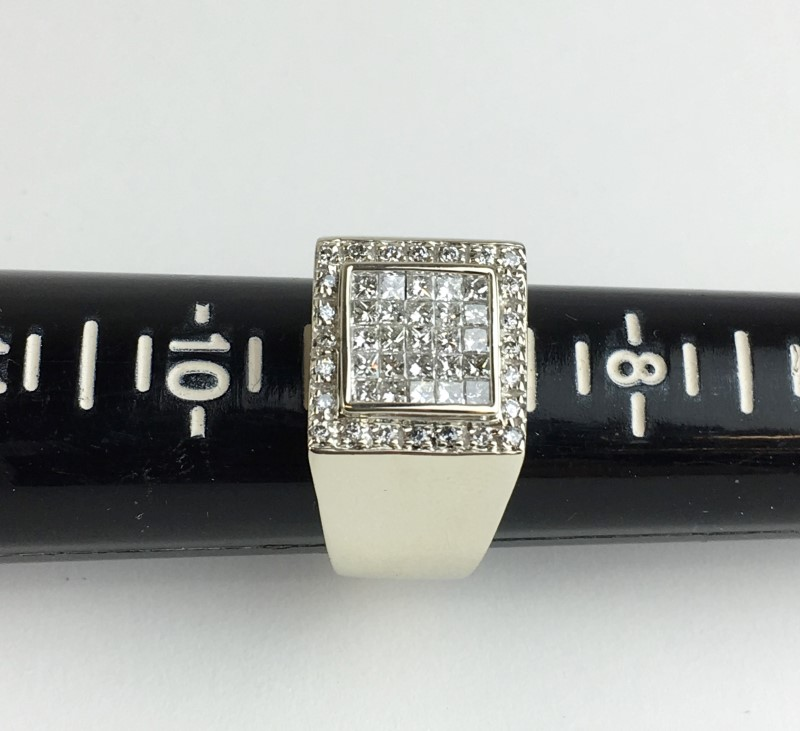 GENTS 14K WG DIAMOND CLUSTER RING APX 1.00CTW SIZE 9