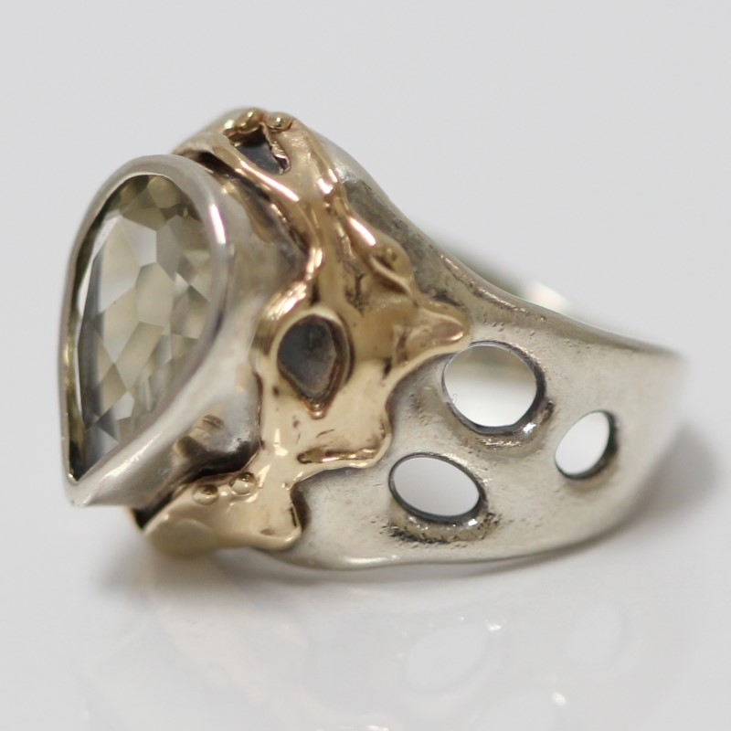 Lemon Quartz Ring Set In 14K Y/G With Silver Accents Size 5.75