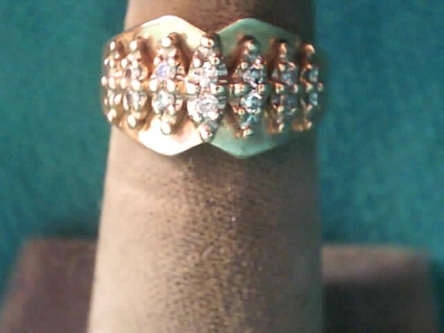 Lady's Diamond Fashion Ring 14 Diamonds .16 Carat T.W. 10K Yellow Gold 2.5dwt
