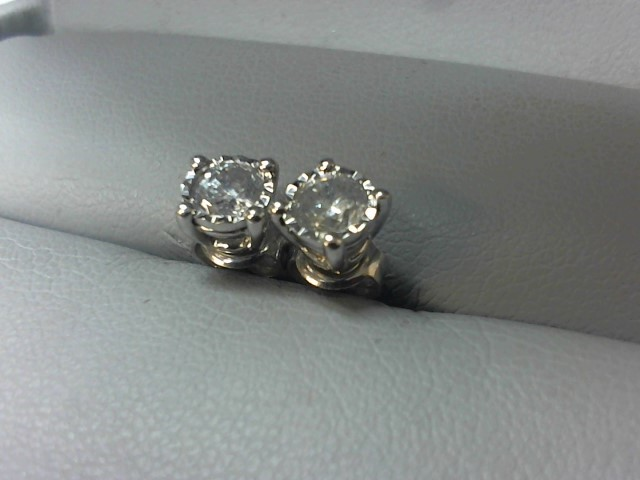 Gold-Diamond Earrings 2 Diamonds .46 Carat T.W. 14K White Gold 1.4g