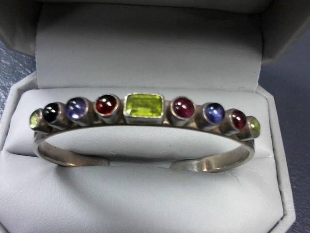 Green Stone Silver-Stone Bracelet 925 Silver 12.9g
