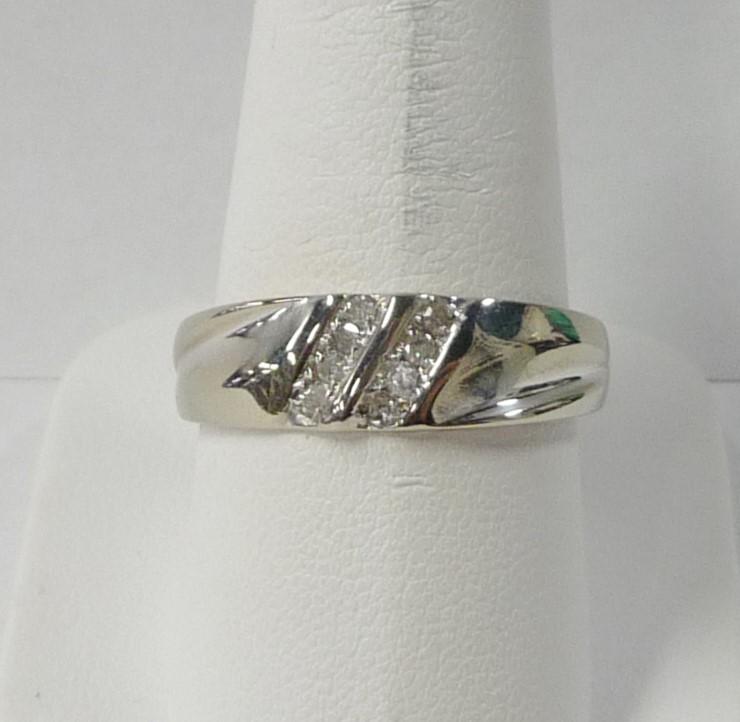 Gent's Gold-Diamond Wedding Band 8 Diamonds .40 Carat T.W. 10K White Gold