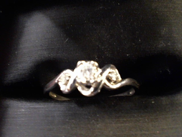 Lady's Silver-Diamond Ring 3 Diamonds .35 Carat T.W. 925 Silver 1.8g Size:9.8