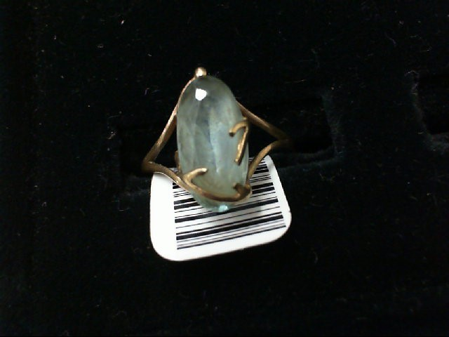 Green Stone Lady's Stone Ring 10K Yellow Gold 1.5g