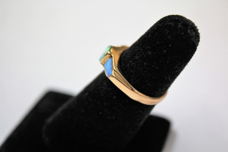 Blue Stone Lady's Stone Ring 14K Yellow Gold 4.3g Size:7.3