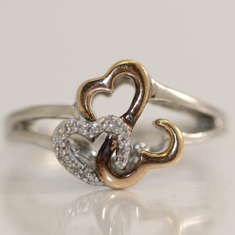 Sterling Silver & Rose Gold Jane Seymour Open Heart Ring Size 6.5