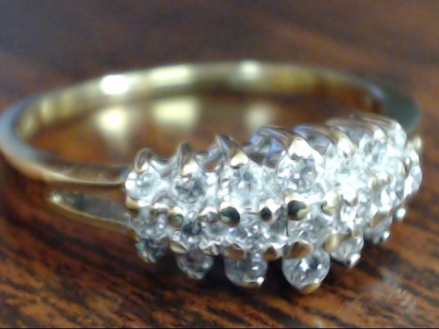 ESTATE DIAMOND ANNIVERSARY TRIPLE BAND RING SOLID 10K GOLD SIZE 6.5