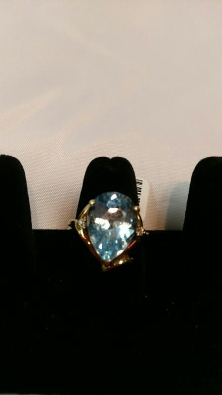 Synthetic Aquamarine Lady's Stone Ring 10K Yellow Gold 5.7g Size 7
