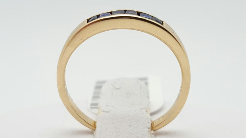Sapphire Lady's Stone Ring 14K Yellow Gold 1.6g Size:6.2