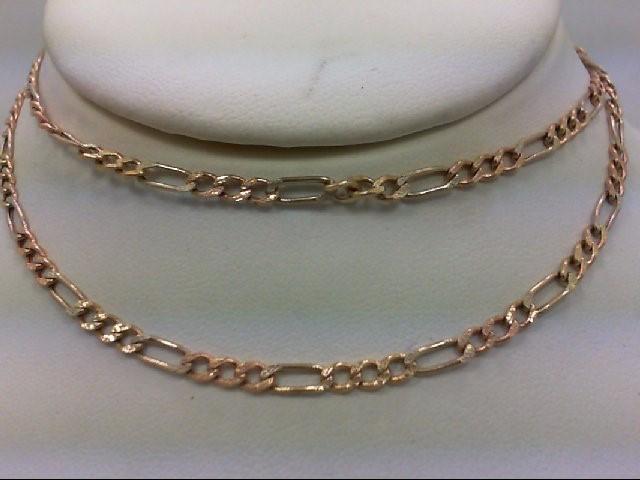 "22"" Gold Figaro Chain 14K Tri-color Gold 5.2g"