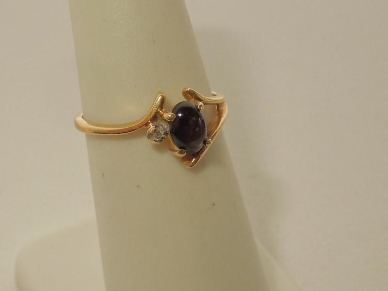 Black Stone Lady's Stone Ring 14K Yellow Gold 1.7g Size:4