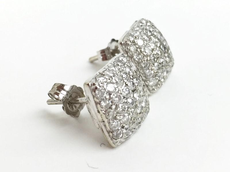 Pavee Diamond Earrings 60 Diamonds .60 Carat T.W. 18K White Gold 6.1g