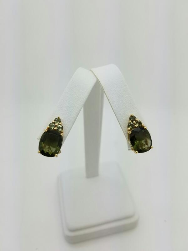 FASHION Synthetic Peridot Gold-Stone Earrings 10K Yellow Gold 3.1dwt