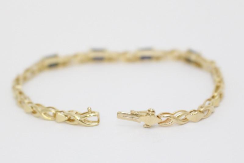 "6"" 14K Yellow Gold X & O Style Emerald Cut Sapphire & Diamond Bracelet"