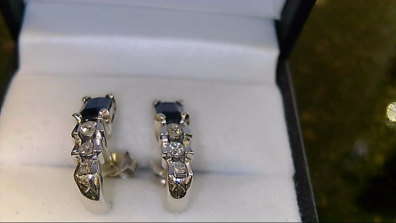 lady's 14k white gold emerad cut blue sapphire and round diamond earrings