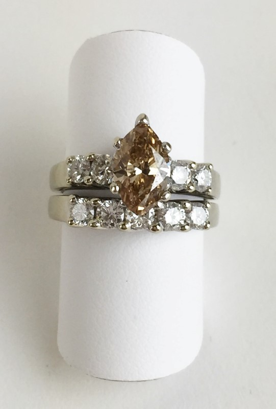 MARQUISE DIAMOND 1.55CTS CHOCOLATE COLOR  W 2.90 CARAT T.W. 14K WG 10.26G