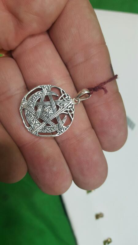 Silver Pendant 925 Silver 6g Celtic Crescent Pentacle By Paul Borda 2004