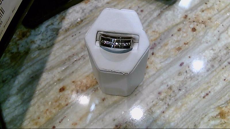 Synthetic Cubic Zirconia Gent's Stone Ring Antique Titanium 4g
