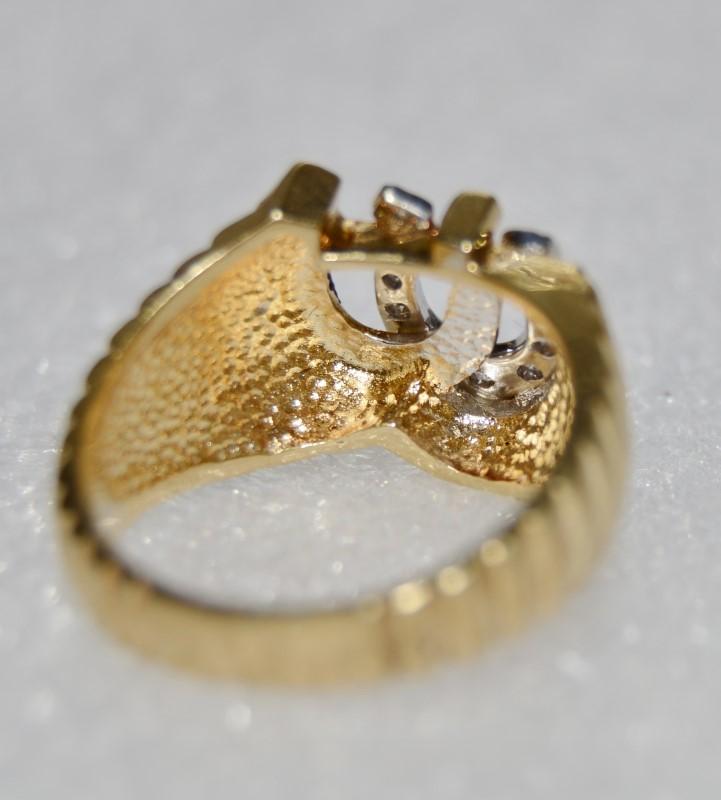 14K Yellow Gold Men's Double Horseshoe Ridged Band Diamond Good Luck Ring sz 9.5