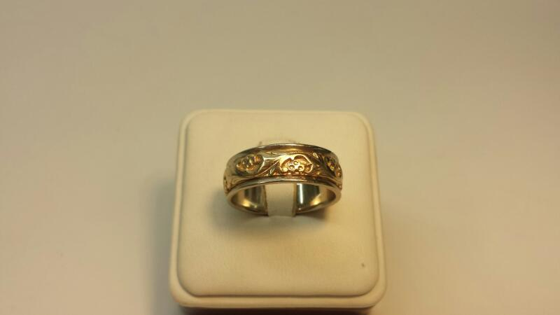 Gent's Gold Wedding Band 14K 2 Tone Gold 7.3dwt Size:11.5