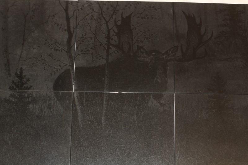 "Laser Tech Moose Laser Etched onto 6 -12""X12"" Ceramic Wall Tiles"
