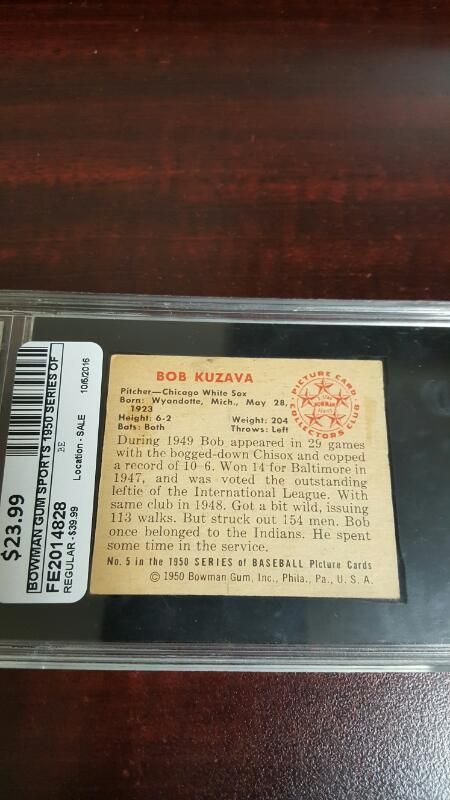 1950 Bowman Bob Kuzava #5, GA 4 VG-EX (Global Authentication)