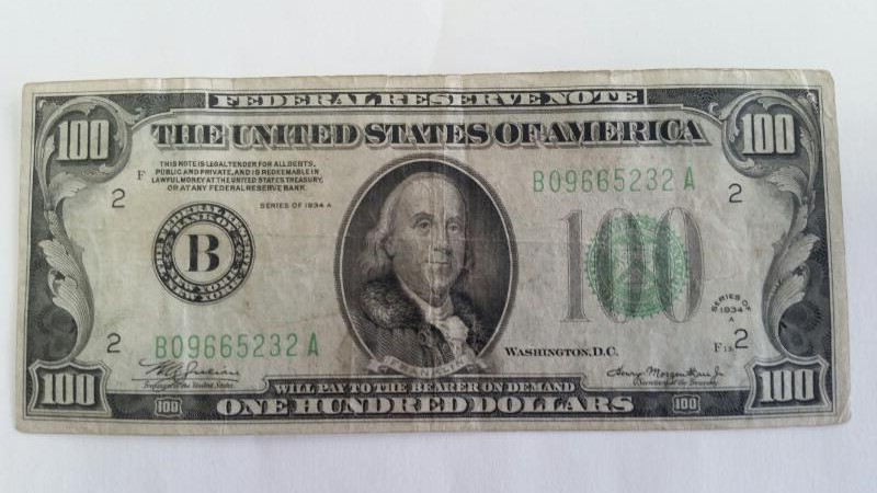 UNITED STATES Paper Money - World 1934A $100 FEDERAL RESERVE BANK OF NY