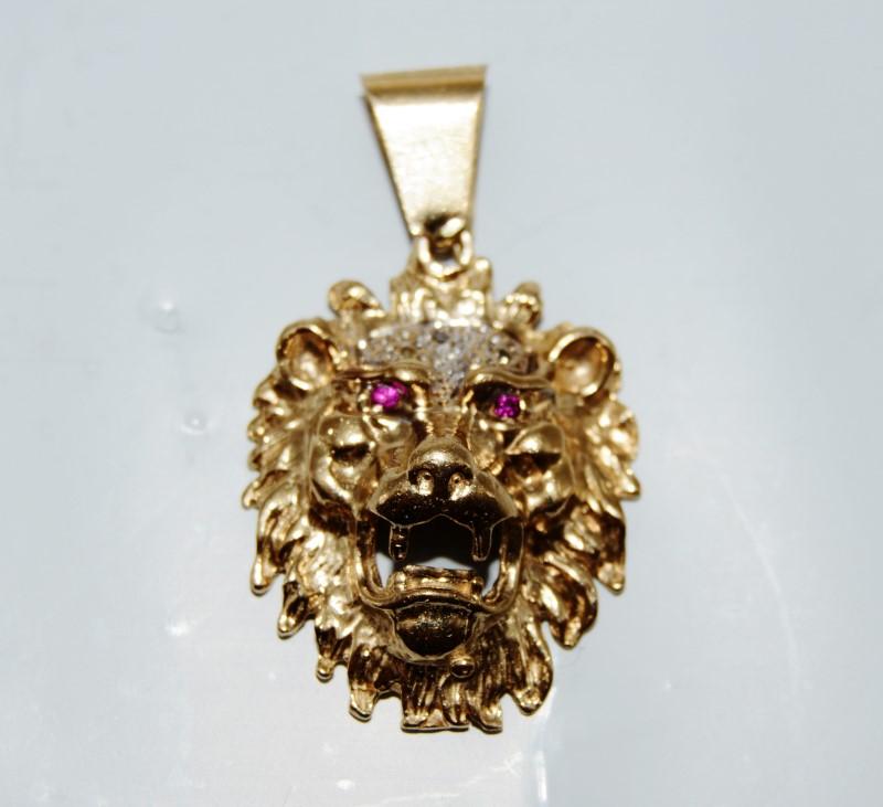 10k Yellow Gold Royal Open Mouth Roaring Lion's Head Pendant w/ Ruby Eyes