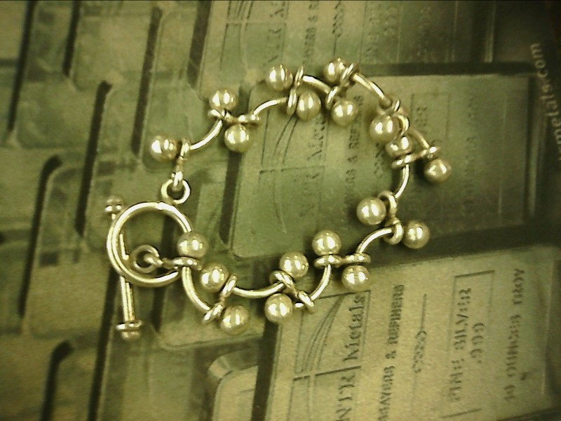 Jambo Heavy Sterling Silver Balls & Half Moons Bracelet with Toggle Clasp