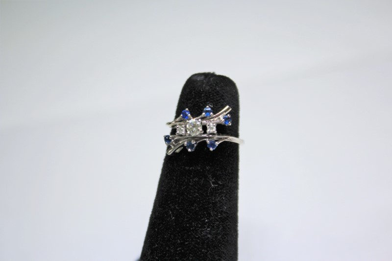 Sapphire Lady's Stone & Diamond Ring 3 Diamonds .26 Carat T.W. 14K White Gold