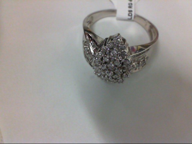 Lady's Silver-Diamond Ring 42 Diamonds .42 Carat T.W. 925 Silver 3.9g