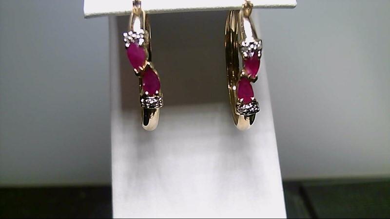Ruby Gold-Diamond & Stone Earrings 8 Diamonds .08 Carat T.W. 14K Yellow Gold