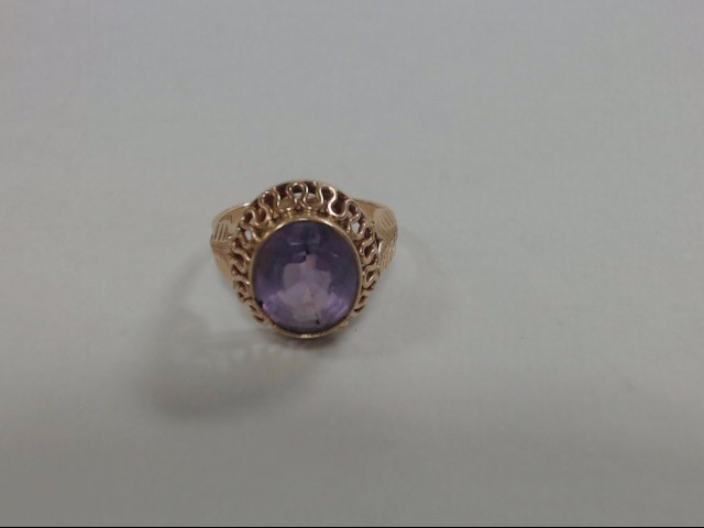 Synthetic Amethyst Lady's Stone Ring 14K Yellow Gold 4.7g