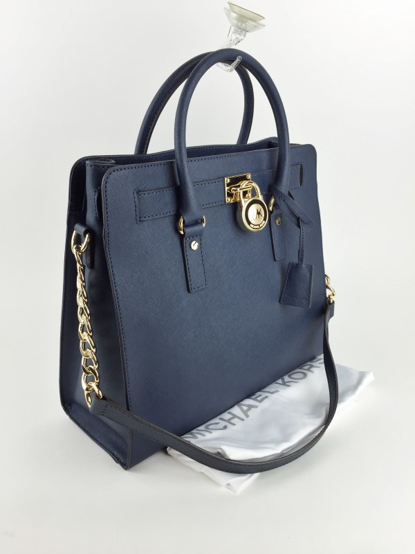MICHAEL KORS SAFFIANO NAVY LARGE NORTH SOUTH SHOULDER BAG