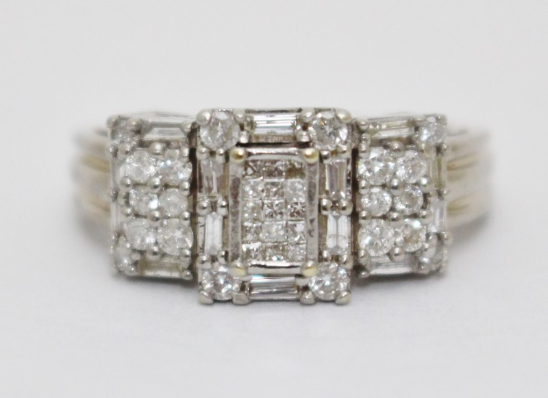 14K White Gold Cathedral Set Vintage Inspired Heart Diamond Cluster Ring sz 8.5