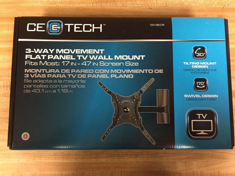 "CE TECH 3-WAY MOVEMENT FLAT PANEL TV WALL MOUNT (FITS MOST 17""-47"")"