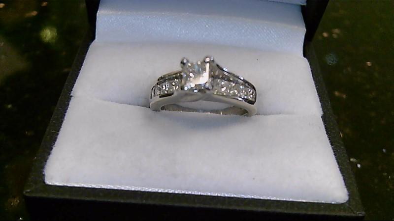 lady's platinum 3/8ct princess cut with princess cut side diamonds ring