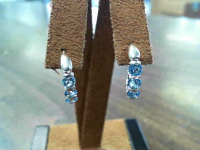 Synthetic Aquamarine Silver-Stone Earrings 925 Silver 2.5dwt